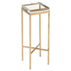 John Richard Modern Classic Glass Block Gold Metal Base Drink Table | Kathy Kuo Home