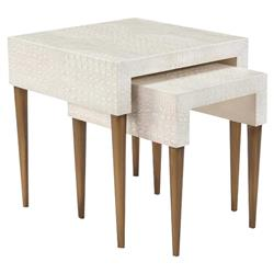 John Richard Modern Classic Kano Cream Textured Resin Nesting Table - Set of 2 | Kathy Kuo Home