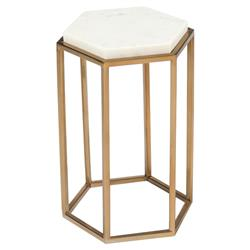John Richard Modern Classic Marble Hexagonal Cream Top Brass Base Drink Table | Kathy Kuo Home