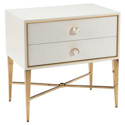 John Richard Modern Classic Ornamento White Gold Frame 2 Drawer Nightstand | Kathy Kuo Home