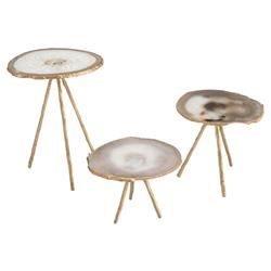John Richard Modern Classic Set Of Three Gold White Agate Side Table | Kathy Kuo Home