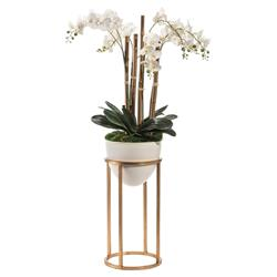 John Richard Modern Classic White Vase Gold Stand Trellis Orchids | Kathy Kuo Home