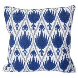 Joli Global Bazaar Blue Ikat Linen Pillow - 20x20 | Kathy Kuo Home