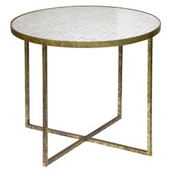 Jonathan Low Oly White Shell Gold End Table | Kathy Kuo Home