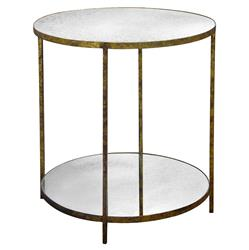 Jonathan Oly Antique Mirror Round Gold End Table | Kathy Kuo Home