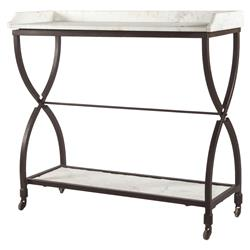 Jorn Industrial Hourglass White Marble Console Table | Kathy Kuo Home