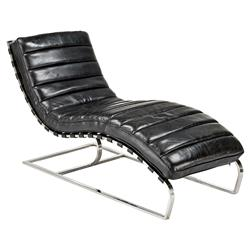 Jovan Modern Classic Retro Black Leather Chaise Lounge | Kathy Kuo Home