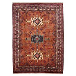 Jove Indian Rust Red Medallion Wool Rug - 6'10 x 10'1 | Kathy Kuo Home
