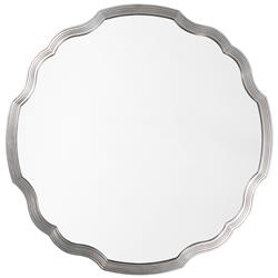 Joy Modern Classic Silver Leaf Wavy Round Mirror | Kathy Kuo Home