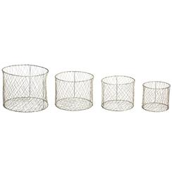 Julian Industrial Round Farmhouse Wire Baskets - Set of 4 | Kathy Kuo Home