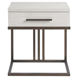 Julius Modern Ivory Wood Metal Frame Nightstand | Kathy Kuo Home