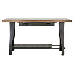 Kaden Industrial Loft Rustic Oak Wood Cast Iron Console Table | Kathy Kuo Home