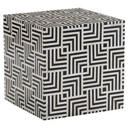 Kala Modern Classic Black Resin White Bone Patterned Square End Table | Kathy Kuo Home