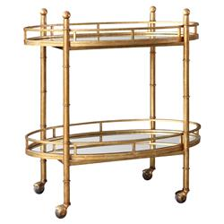 Kalem Global Antique Gold Faux Bamboo Bar Cart | Kathy Kuo Home