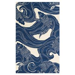 Kana Global Coastal Blue Ocean Koi Outdoor Rug - 3'x5' | Kathy Kuo Home
