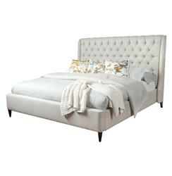Kara Hollywood Regency Button Tufted Fawn Linen Queen Bed | Kathy Kuo Home