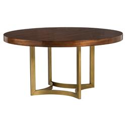 Karsten Modern Brushed Gold Round Wood Dining Table | Kathy Kuo Home
