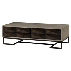 Kassie Industrial Loft Open Grey Grain 2 Drawer Cofee Table | Kathy Kuo Home