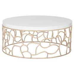 Kataryna Dmoch Squire Modern Classic Maple Wood Metal Base Round Coffee Table | Kathy Kuo Home