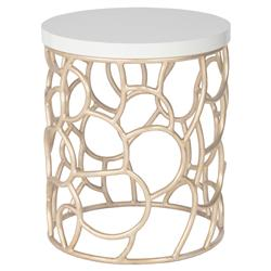 Kataryna Dmoch Squire Modern Classic Maple Wood Metal Base Round Side End Table | Kathy Kuo Home