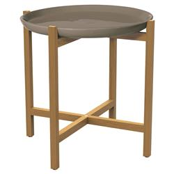 Kate Modern Round Taupe Ceramic Top Teak Outdoor Side End Table | Kathy Kuo Home