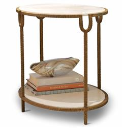 Katherine Hollywood Regency Ivory Stone Oval Side End Table | Kathy Kuo Home
