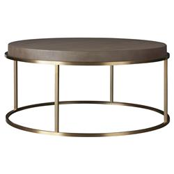 Katherine Modern Classic Brown Faux Shagreen Top Metal Round Coffee Table | Kathy Kuo Home