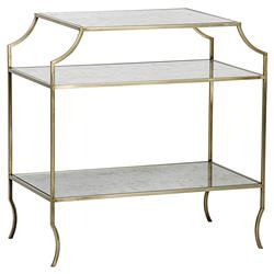 Kathy Modern Gold Antique Mirror Shelf 3-Tier Side Table | Kathy Kuo Home
