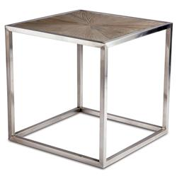Katie Industrial Reclaimed Elm Brushed Steel End Table | Kathy Kuo Home