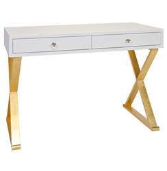 Keating Hollywood Regency White Lacquer Gold Desk | Kathy Kuo Home