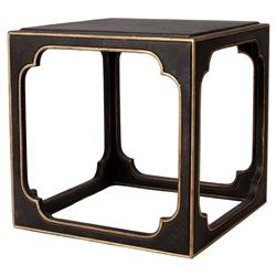 Keats Regency Gilded Black Cubic End Table | Kathy Kuo Home