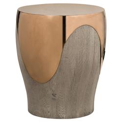 Kelly Hoppen Bessie Modern Classic Solid Oak Stainless Steel Round Side Table | Kathy Kuo Home