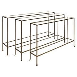 Kemp Modern Classic 2 Tier Slim Rectangular Glass Bronze Console Table | Kathy Kuo Home