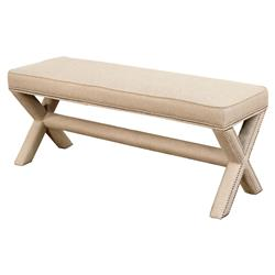 Kenya Modern Classic Linen Upholstered X-Based Bench | Kathy Kuo Home