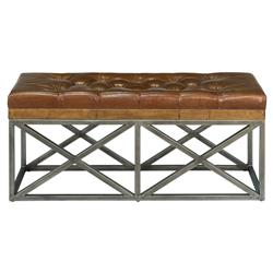 Kenzie Rustic Lodge Reclaimed Wood Leather Bench | Kathy Kuo Home