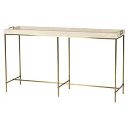 Kerian Hollywood Brass Ivory Shagreen Tray Console Table | Kathy Kuo Home