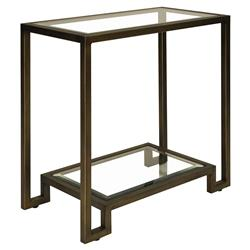 Kern Hollywood Regency 2 Tier Rectangular Bronze Glass Side Table | Kathy Kuo Home