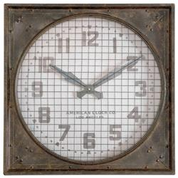 Ketterer Industrial Loft Hand Forged Metal Grill Wall Clock | Kathy Kuo Home