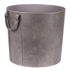 Kevin Mid Century Modern Grey Leather Floor Basket | Kathy Kuo Home