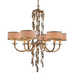 Keyes Regency White Gold Crystal Waterfall Chandelier - 6 Light | Kathy Kuo Home