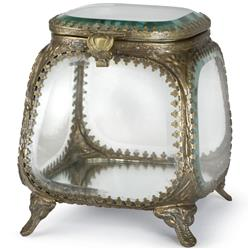 Kidd Hollywood Regency Antique Brass Glass Square Jewelry Box | Kathy Kuo Home