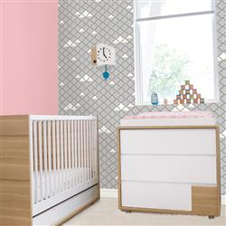Kids Clouds Lattice Grey Gold Metallic Removable Wallpaper | Kathy Kuo Home