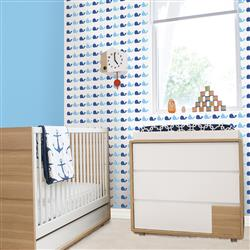 Kids Whale Blue Removable Wallpaper | Kathy Kuo Home