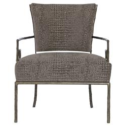 Kiefer Hollywood Regency Grey Alligator Fabric Metal Armchair | Kathy Kuo Home
