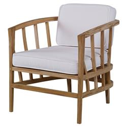Kiera Lodge Slatted Teak Ivory Outdoor Lounge Chair | Kathy Kuo Home