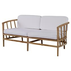 Kiera Lodge Slatted Teak Ivory Outdoor Sofa | Kathy Kuo Home