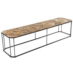 Kieran Reclaimed Wood Parquet Industrial Iron Long Bench Coffee Table | Kathy Kuo Home