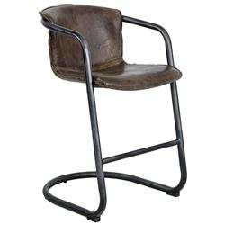 Kilgore Industrial Loft Vintage Whiskey Leather Counter Stool - Pair | Kathy Kuo Home