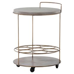 Kimbra Industrial Loft Round Concrete Brass Bottle Holder Bar Cart | Kathy Kuo Home