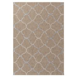 Kinsley Modern Coastal Blue Taupe Trellis Outdoor Rug - 3'11x5'7 | Kathy Kuo Home